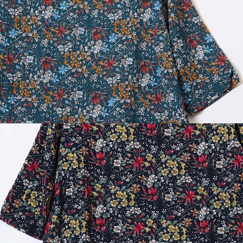 小花柄ゆったり楊柳チュニック七分袖