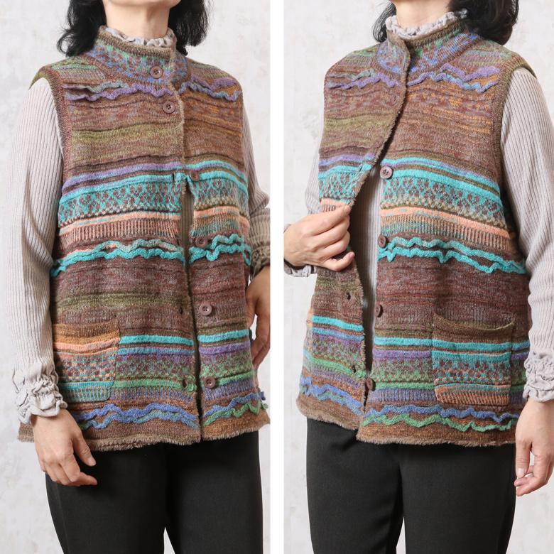 暖かいファー付きかすり織りニットベスト