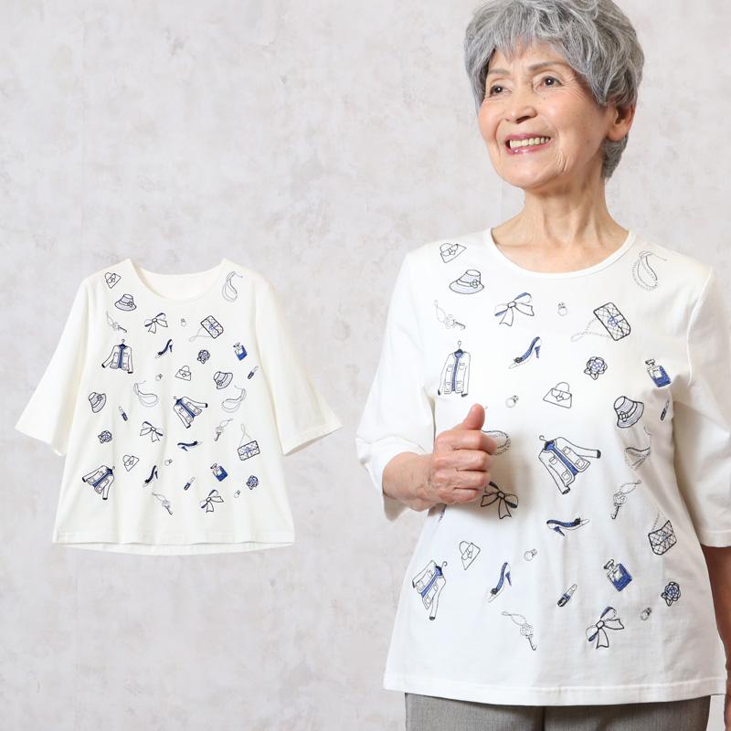 エレガント 刺しゅう Tシャツ 六分袖 ホワイト
