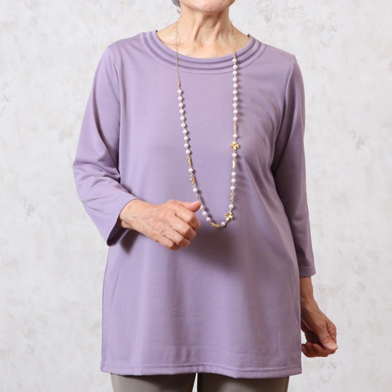チュニック 七分袖 衿デザイン Tシャツ カットソー